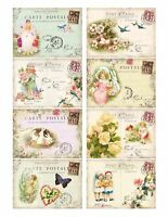 Pastel Shades Easter Postcards Glossy Finish Card Making Toppers / Embellishment