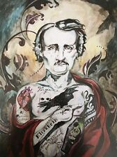 LEX outsider pop SuRReal tattoo Print gothic Edgar Allan POE INK INCON painting