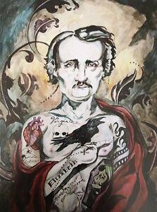 LEX outsider pop SuRReal tattoo Print gothic Edgar Allan POE INK INCON painting