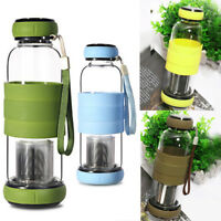 420ML Glass Water Tea Bottle Drinking With Filter Fruit Infuser Sleeve Cup Mug