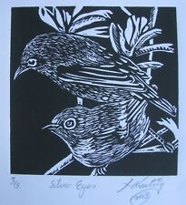 "LYNN KEATING AUSTRALIAN BLACK INK LINOCUT ""TWO SMALL BIRDS"" 2015 LTD ED"