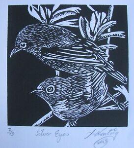 "LYNN KEATING AUSTRALIAN BLACK INK LINOCUT ""TWO SMALL BIRDS"" 2015 LTD ED A"