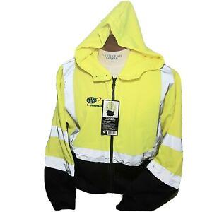 3M Hi-Vis Full Zip Neon Hooded Sweatshirt Jacket Mens XL ANSI/SEA Type R Class 3