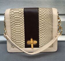 BODHI Snakeskin Python Bamboo Turnlock Leather Handbag $358