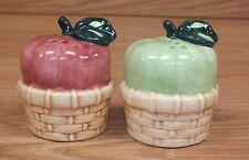Set of 2 Vintage Style Red & Green Apple in Basket Salt & pepper Shaker Set