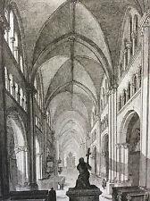 Estampe empire occident vue intérieure cathédrale de Bonn milieu XIXeme siècle