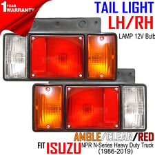 Isuzu NPR N-Series Heavy Duty Truck Pair Tail Lights Rear Back Lamp + Bulb 12V