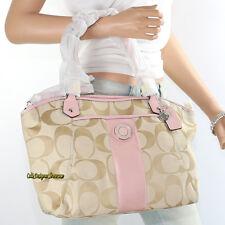 NWT Coach Signature Stripe Shoulder Hand Bag Crossbody Tote F19203 Pink Rare