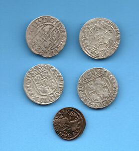 LOT OF5  Poland Lithuania 1/24 Taler 1622-1625 Solidus 1663 65