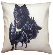 More details for belgian groenendael group breed of dog cotton cushion cover - perfect gift