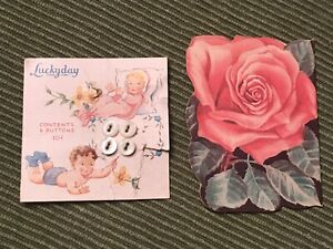VINTAGE BABY PEARL BUTTONS & SEWING NEEDLES ORIGINAL CARDS ROSES BABIES