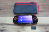 Sony PSP 3000 console BlackxRed w/8GB Memory Card Case Japan m788