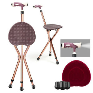Lightweight Adjustable Folding Cane Seat Aluminum Alloy Crutch Chair With Light