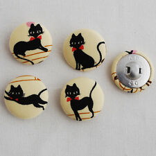 4 Botones Kawaii Hecho a Mano cubierto de tela-Coser-Gato Negro - 25mm