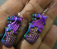 Rainbow Manmade Hematite Mythical MerLion Mermaid Lion Earrings Purple Blue Slvr