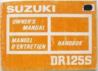SUZUKI DR125S Original Motorcycle Handbook 1986 #99011-44A22-013 Multi Lingual