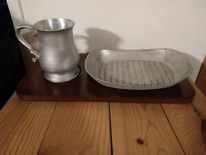 TR Crown Pewter Tankards - Plates and Wooden Trays - Vintage Medieval Style Sets