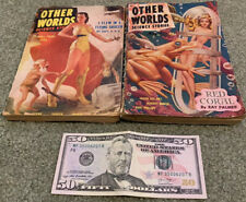 Two - 1951 OTHER WORLDS SCIENCE STORIES, Hannes Bok Cover Art, Sci-Fi Pulp Comic
