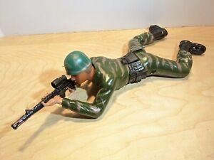 """VINTAGE GI JOE ACTION FIGURE 1987 REGENCY CRAWLING SOLDIER 12"""" Repaired Working"""