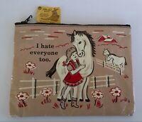 Blue Q Bags Women's Clutch Purse Makeup Bag Girl & Horse