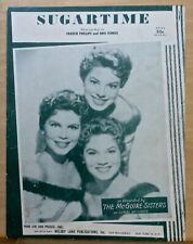 Sugartime - 1956 sheet music - The McGuire Sisters photo cover