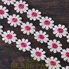 NEW 1 Yard 0.95'' Width Embroidered Lace Trim Applique DIY Crafts Rose Red