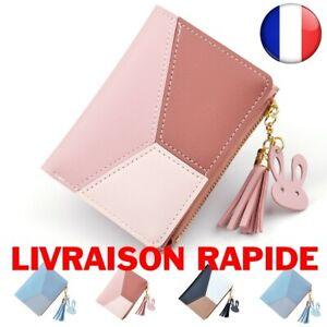 Porte-monnaie Mode Femme Cuir Patchwork Mini Portefeuille Porte-clé Carteira