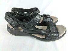 Clarks Black Leather Sport Sandals Comfort Adjustable Women's Shoe Size: 9.5 M