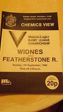 7.9.80 Widnes v Featherstone Rovers programme
