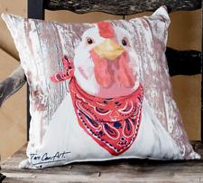 Rustic Chicken Print Throw Pillow Indoor Outdoor Farmhouse Animal Primitive