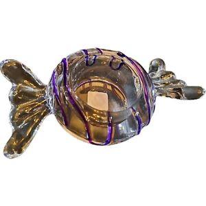 VintageCandle Holder Tea Lite Clear Purple Striped Glass Candy Hand Blown