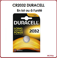 Lots de Piles/Cells boutons Duracell 3V lithium CR2032, qualité professionnelle