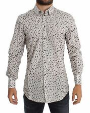 NWT $500 DOLCE & GABBANA White Red Polka Dot Slim Fit GOLD Shirt 38 / US15/ XS