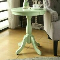 Cottage Style Pedestal End Table Round Top Wooden Storage Display Light Green