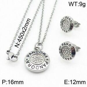 Women's Stainless Steel Zircon Pendant Necklace Earrings Ear Studs Jewelry Set