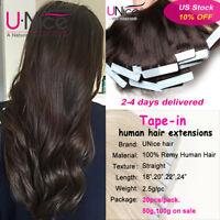 100g Tape In THICK Glue 100% Remy Human Hair Extensions Full Head 20/40Pcs UNice