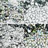 1000 Tear Drop Rhinestones Silver Flat Back Clear Crystal AB Acrylic Gems Beads