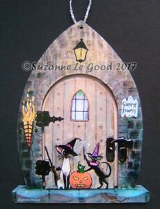 Siamese Oriental Cat art Halloween sign from original painting Suzanne Le Good