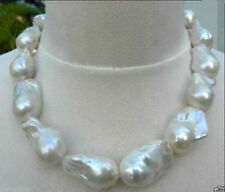 Real Natural Huge AA South Sea White BAROQUE beads Pearl Necklace 18''