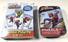 Marvel Spider-Man - 50 Piece Puzzle Tin. PLUS : Super Hero - Jumbo CardS Age 6+