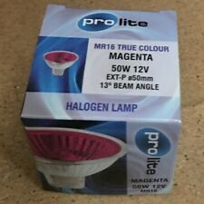 12V 50W MAGENTA 50mm PROLITE M249M 13 DEGREE EXT MR16 DICHROIC LAMP BULB NEW