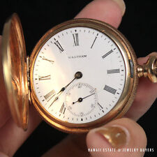 ANTIQUE 1890'S WALTHAM POCKET WATCH PENDANT HUNTER'S CASE SOLID 14K YELLOW GOLD