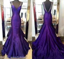 Purple Beaded Mermaid Prom Evening Dresses V Neck Long Pageant Party Formal Gown
