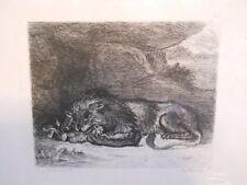 Antique 1873 Original DURAND Etching by Eugene DELACROIX Entitled Lion Et Lapin