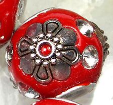 16mm Red Ceramic  Porcelain Round Loose Beads 8pcs