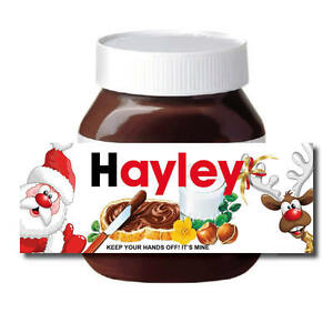 CHRISTMAS Personalised Secret Santa Nut Chocolate Spread label Sticker Gift