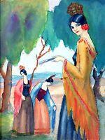 ESPAGNOL DAMAS. AQUARELLE . ART DECO STYLE. SIGNE M. NAVARRO. ESPAÑCIRCA 1920