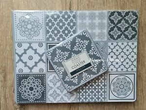 Set of 4 Tile Print Placemats And Coaster Floral Pattern Dining Table Mats NEW