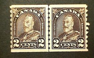 Canada #182iii George V Arch Issue (1931) Coil Line Pair Cockeyed King Var MLH