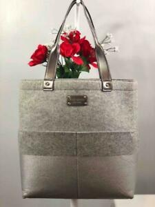 KATE SPADE NY Silver Grey Glitter Wool Large Tote Bag